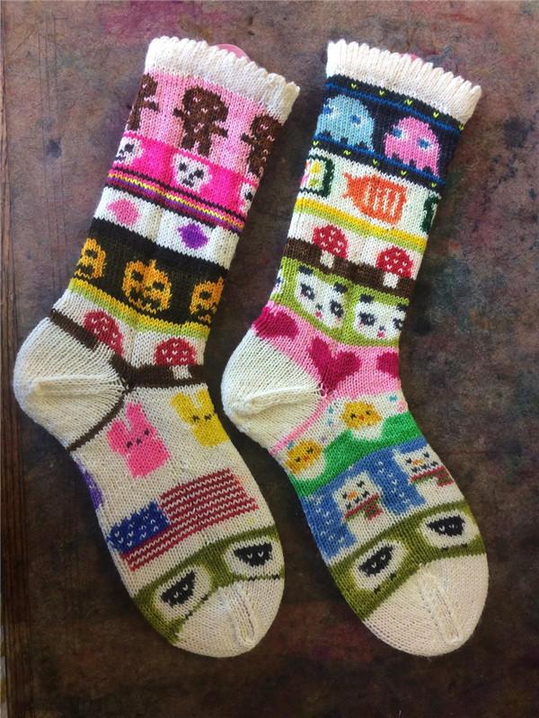 艺术编织毛线袜