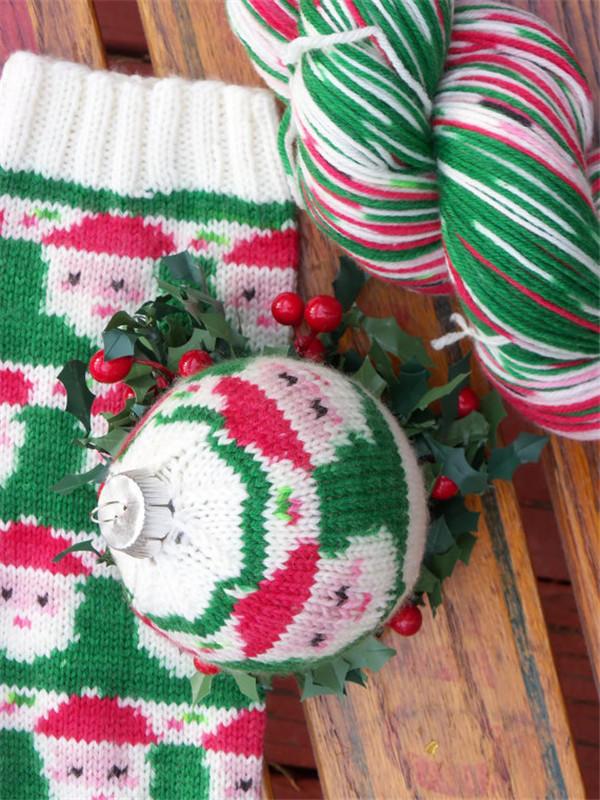 圣诞风毛线袜