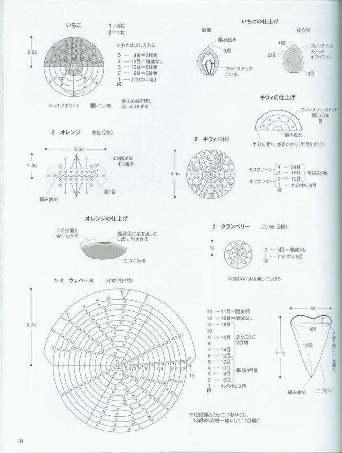 毛线编织钩针美食 多款钩针甜品编织图解教程