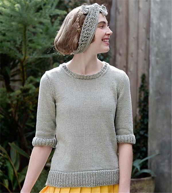 棒针中袖毛衣