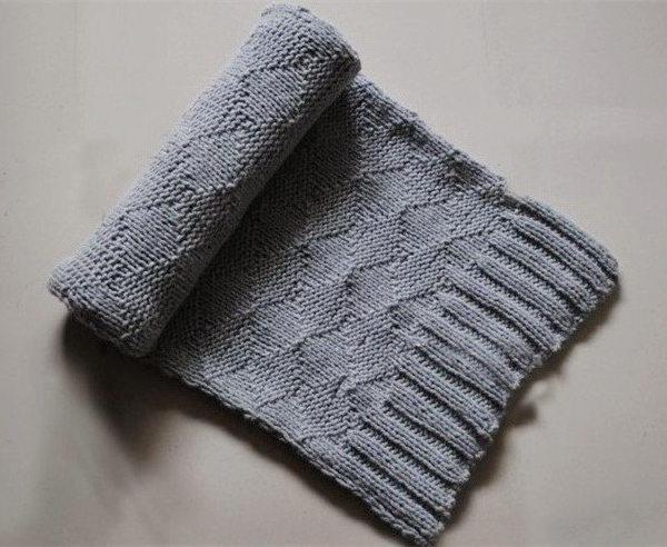 棒针菱格围巾