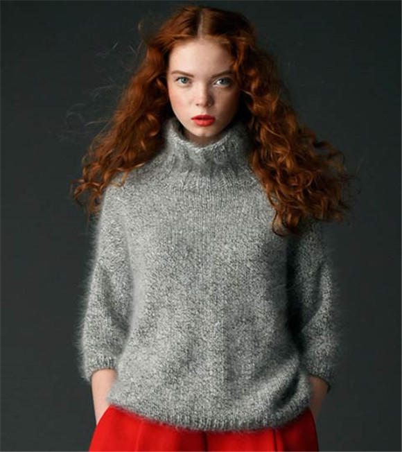 毛线球23女士棒针高领毛衣