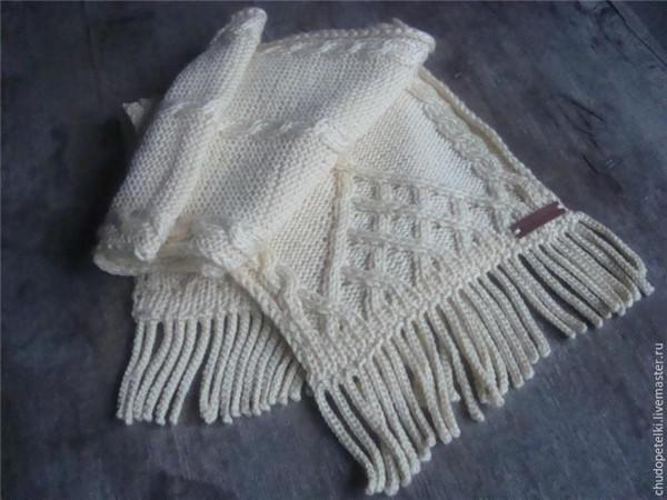 棒针流苏围巾
