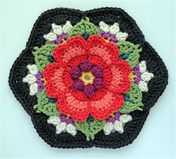 Heart Rose钩针单元花