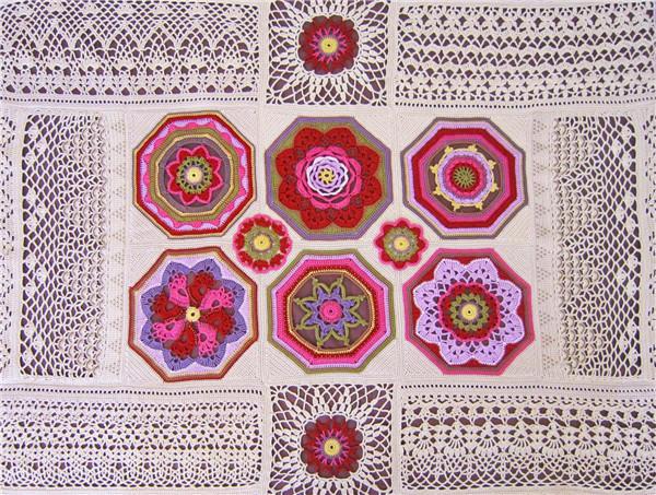 钩针蕾丝拼花毯