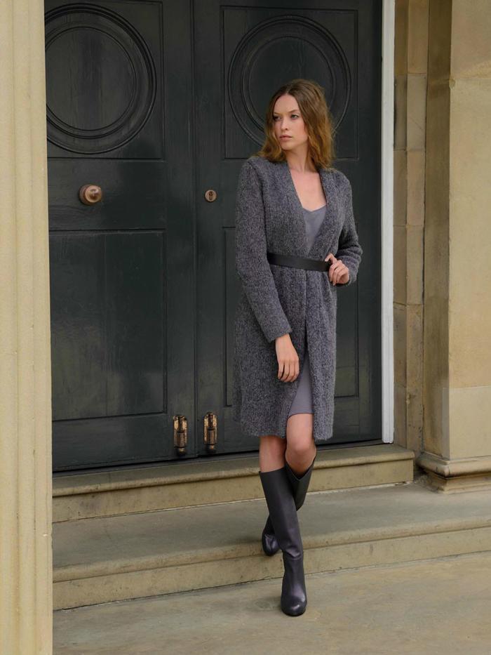 SLATE 女士修身款棒针中长款外套大衣