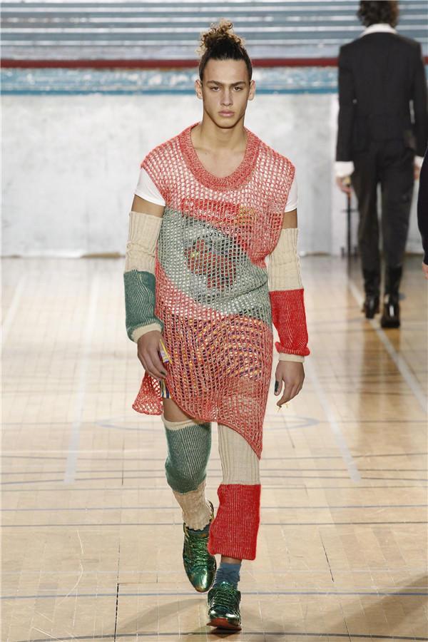 男士钩针渔网衫
