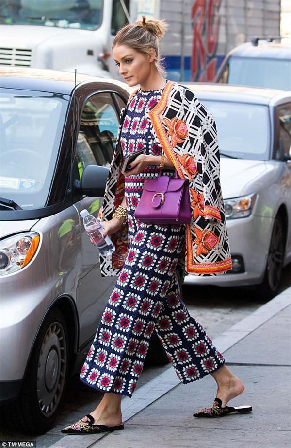 Olivia Palermo钩针祖母方格连体裤