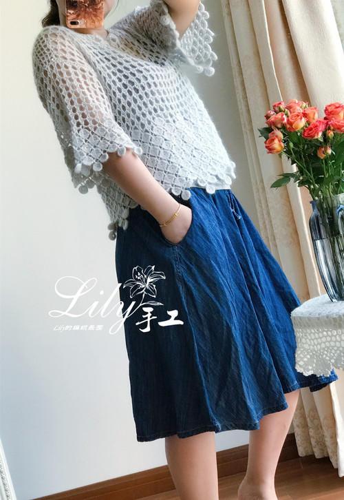 钩针羊毛蕾丝罩衫