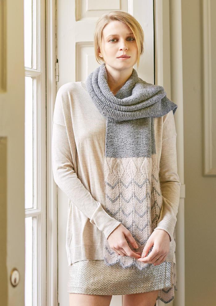 Dusky Scarf(Martin Storey)组合图案女士棒针拼色围巾