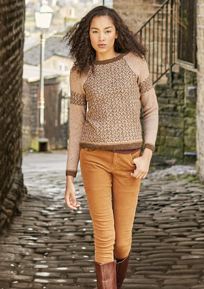 Fishlake(Martin Storey)女士棒针插肩提花羊驼羊毛衫