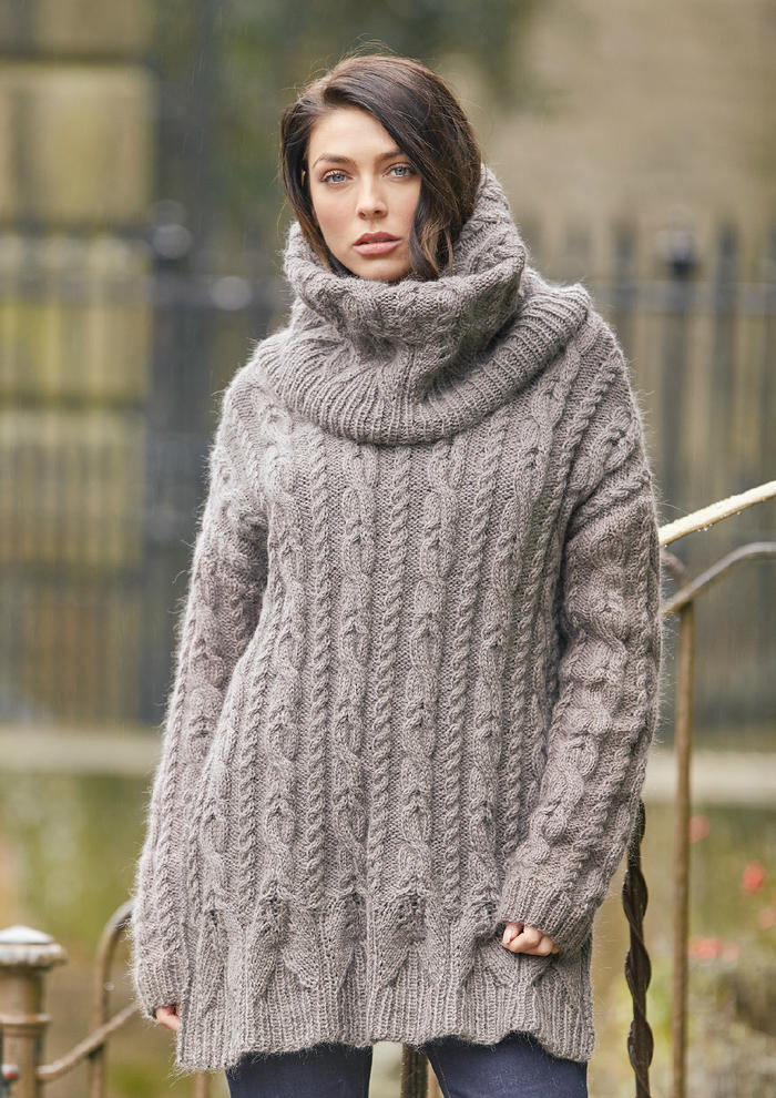 Foss(Galina Carroll)超大号宽松休闲女士棒针麻花堆领毛衣