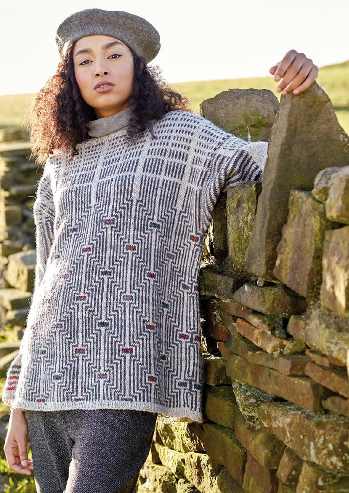Greenwood(Galina Carroll)休闲款女士棒针几何图案落肩羊毛衫