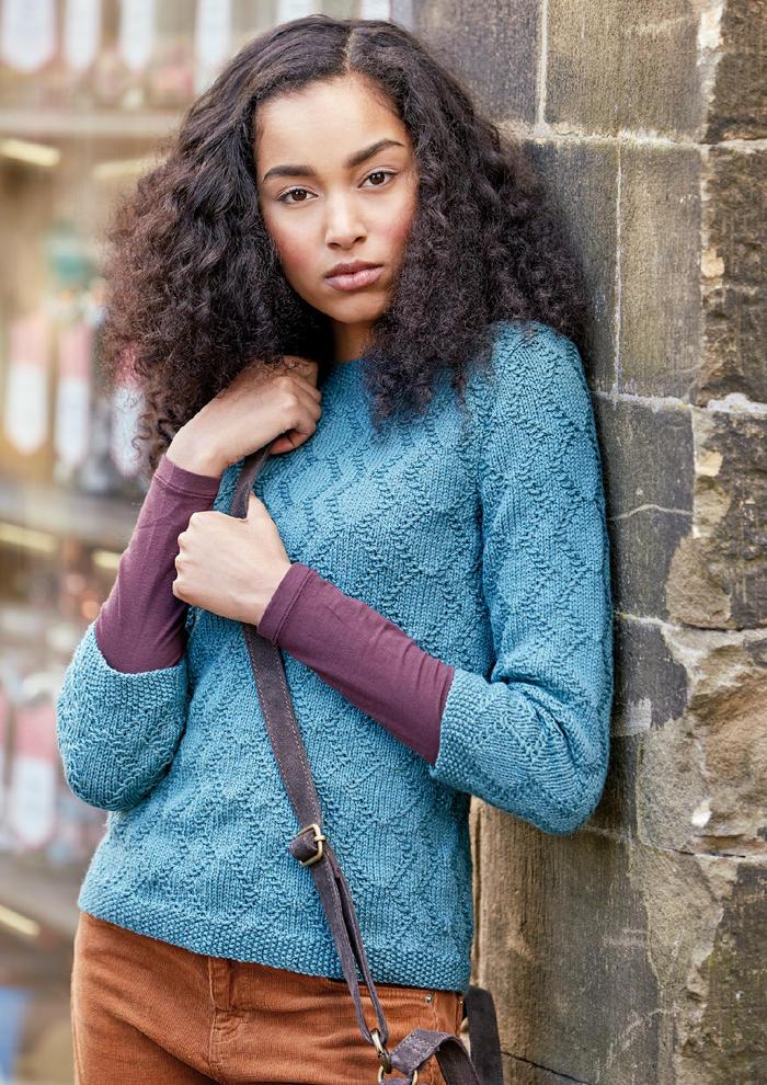 Lund(Sarah Hatton)女士棒针几何纹路七分袖羊毛衫