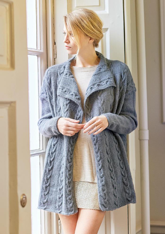 Mellow(Sarah Hatton)优雅女士棒针麻花翻领外套开衫