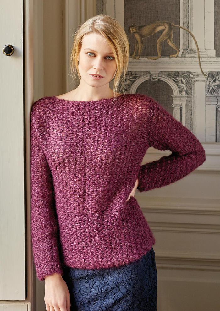 Midnight(Lisa Richardson)时尚经典女士钩针一字领长袖毛衣