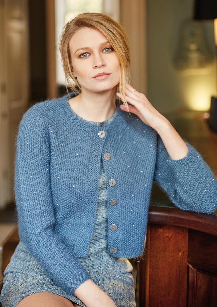 Sundown(Martin Storey)女士棒针桂花针钉珠短款开衫