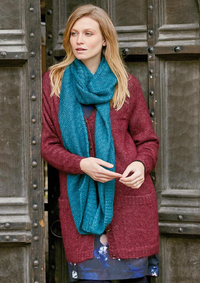 Whispered(Sarah Hatton)海洋蓝女士棒针羊毛围巾