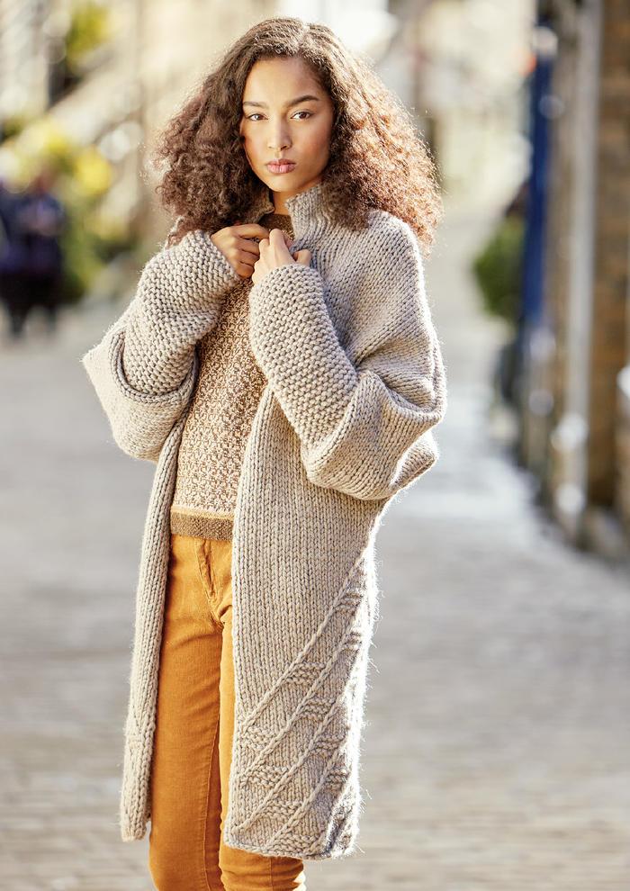 Wilshaw(Georgia Farrell)女士棒针落肩袖羊毛大衣