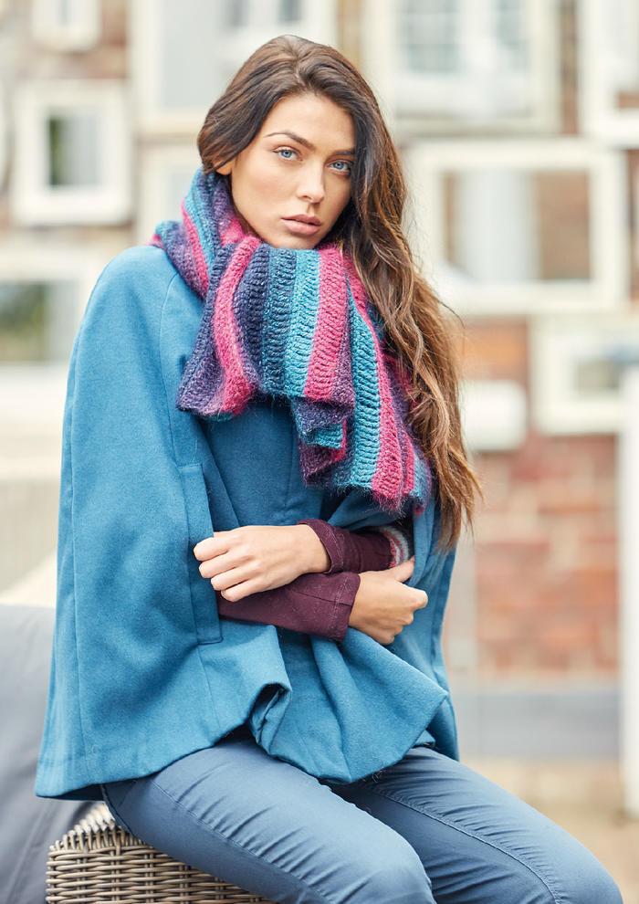 Hutton(Lisa Richardson)女士钩针拼色条纹羊驼羊毛围巾