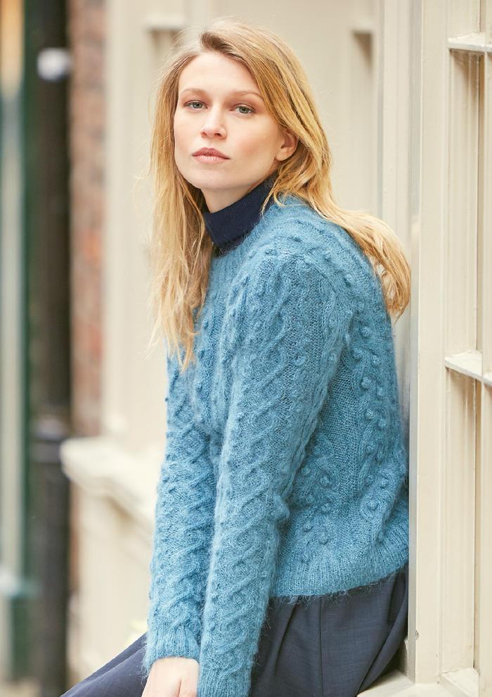 Twilight(Lisa Richardson)真丝马海羊驼羊毛女士棒针圆领套头毛衣