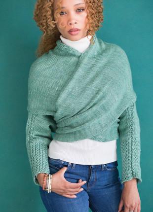 多种穿法的女士棒针毛衣
