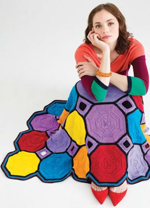 几何图案棒针拼花毯