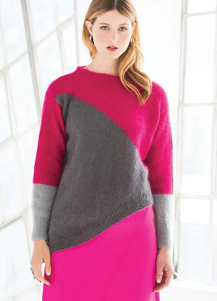 不规则拼色女士中长款毛衣