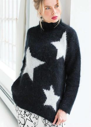 女士五星图案棒针毛衣