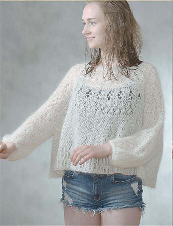 女士棒针马海毛衣