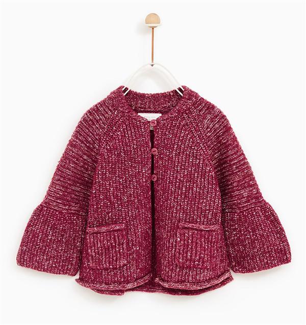 儿童棒针阔形外套开衫