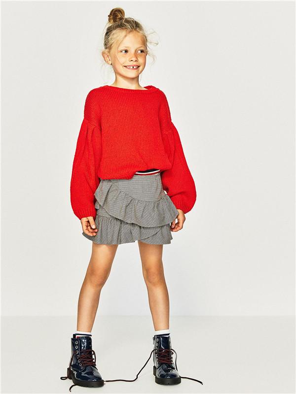 大红色棒针儿童毛衣