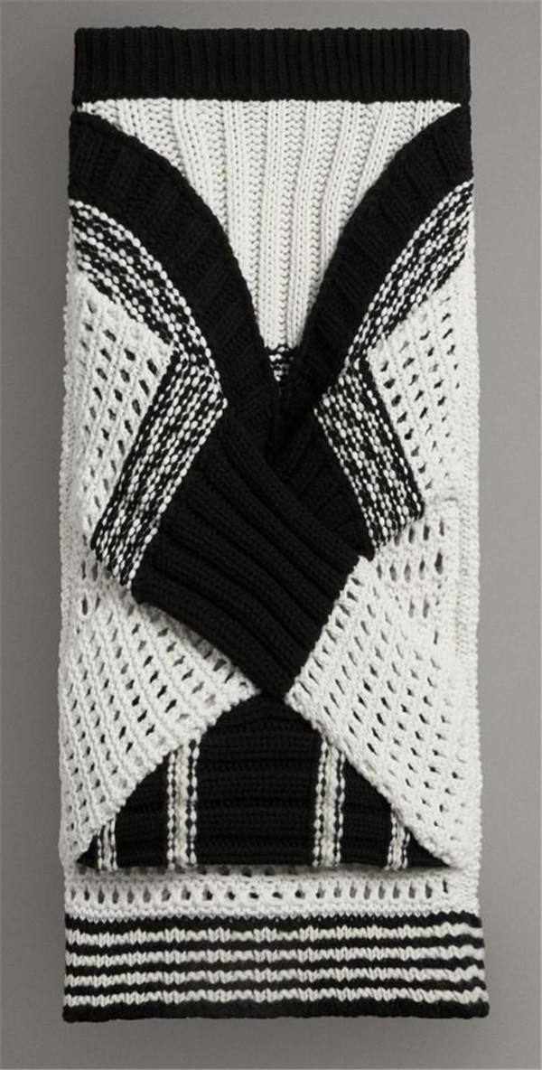 棒针拼色半身裙