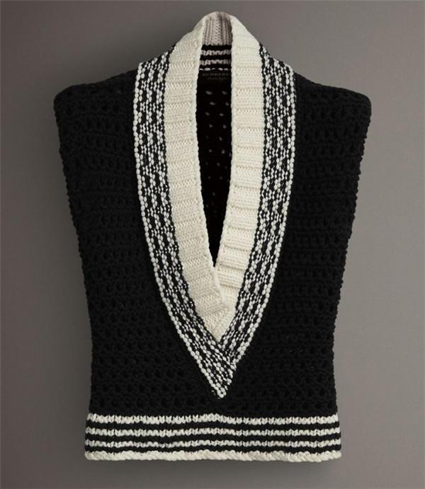 V领羊毛棒针背心