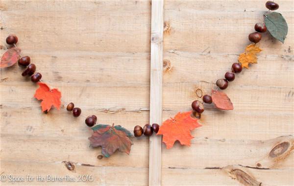 秋季DIY树叶彩旗