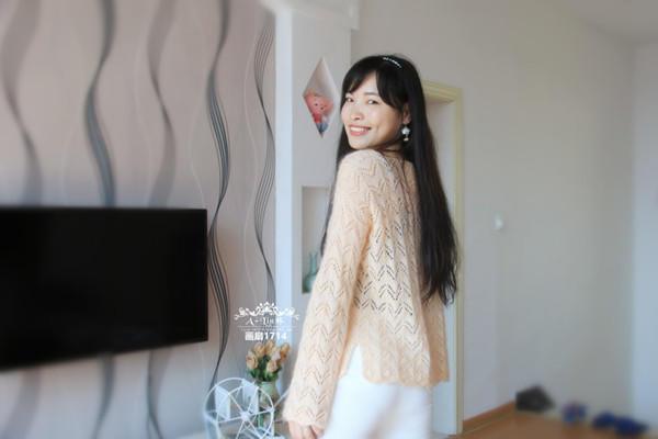 女士棒针羊毛蕾丝镂空衫