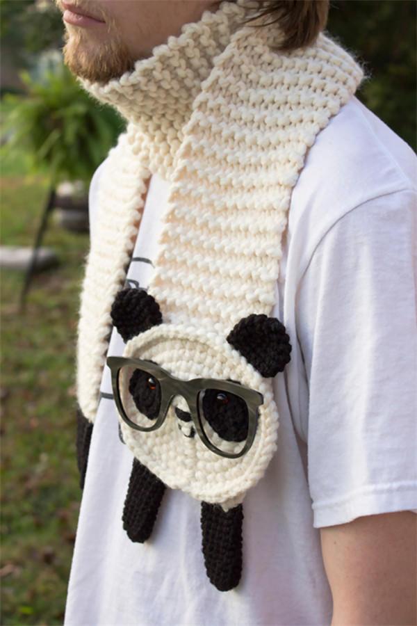 钩针熊猫围巾