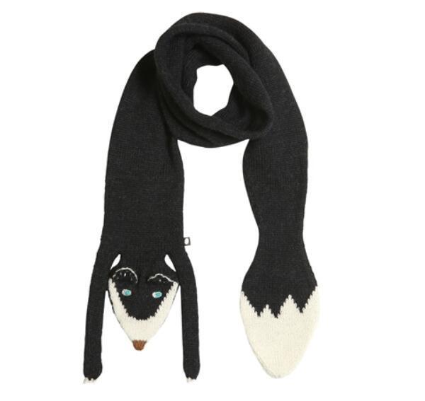 棒针动物围巾