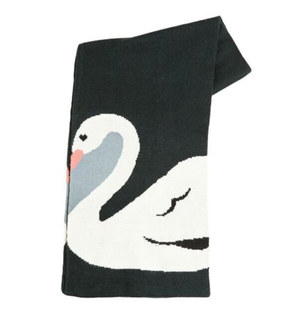 棒针双面编织天鹅围巾