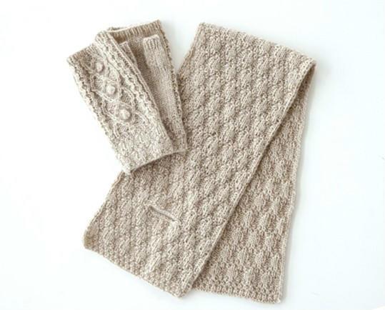 棒针手套围巾