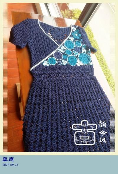 民族风藏青色爱尔兰菠萝花钩针连衣裙-编织教程-编织