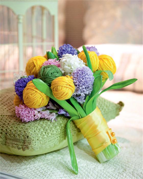 毛线球花束