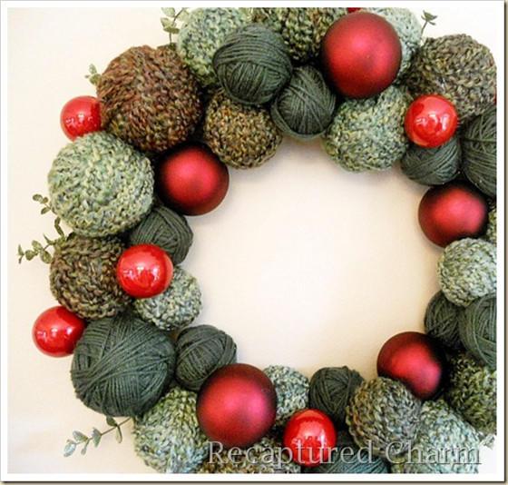 毛线球圣诞花环
