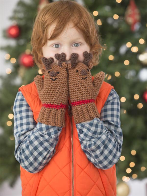 圣诞钩针小鹿手套