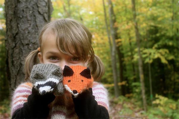 棒针动物手套