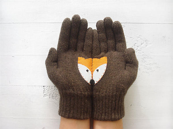 棒针五指手套