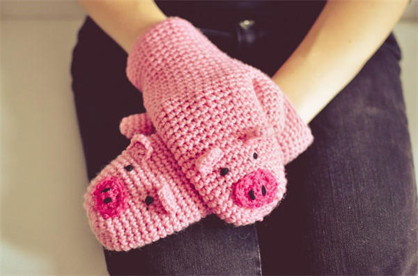 钩针小猪手套