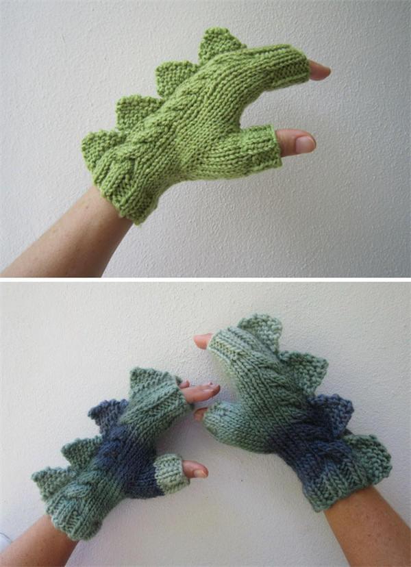 毛线编织恐龙手套