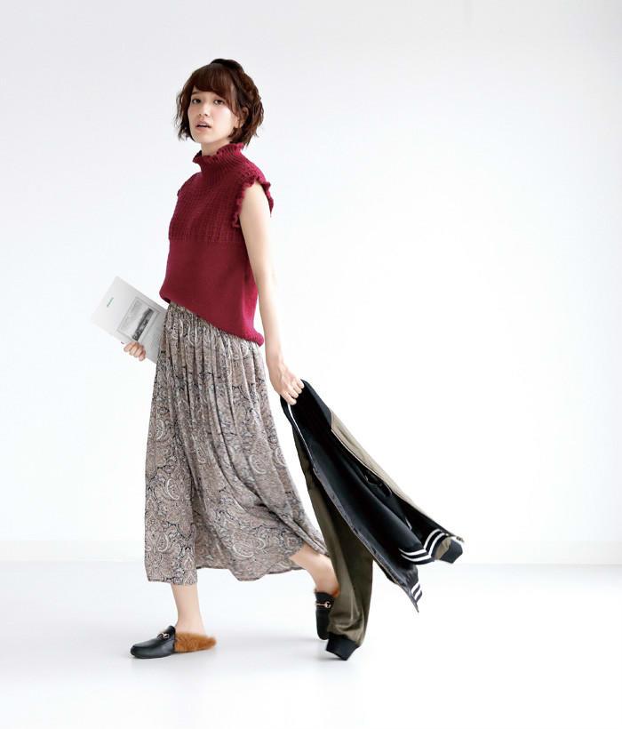 女士棒针无袖羊毛衫