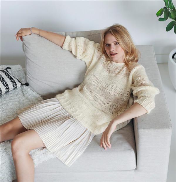 女士棒针马海羊毛衫